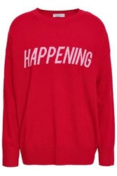Sandro Intarsia Wool And Cashmere Blend Sweater Red