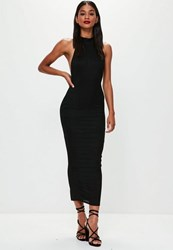 Missguided Black High Neck Low Back Maxi Dress