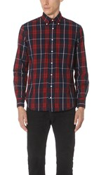 Gitman Brothers Vintage Long Sleeve Plaid Flannel Shirt Red Navy