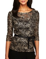 Alex Evenings Embellished Illusion Top Black Gold
