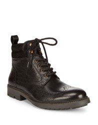 Black Brown Lace Up Leather Boots Cognac