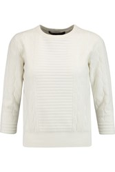 Marc By Marc Jacobs Lucinda Jacquard Knit Cotton Blend Sweater White