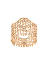 Aurelie Bidermann 18Kt Yellow Gold And Diamond Lace Ring Metallic