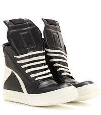 Rick Owens Geobasket Leather High Top Sneakers Black