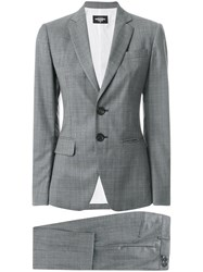 Dsquared2 Cropped London Suit Women Polyester Wool 40 Grey