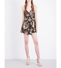 Sandro Wrap Style Silk Crepe Playsuit Multi Color