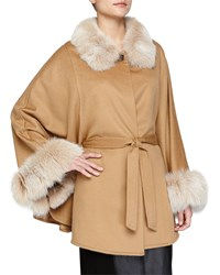 Belted Cashmere Cape With Fur Collar And Cuffs Blonde Yellow Sofia Cashmere