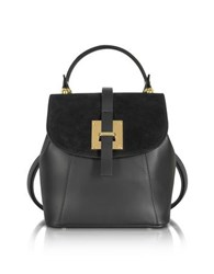 Le Parmentier Black Suede And Leather Small Backpack