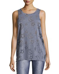 Terez Stars And Moon Burnout Racerback Tank Top Gray