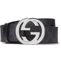 Gucci 4Cm Black Monogrammed Coated Canvas Belt Black