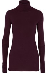 Enza Costa Cotton And Cashmere Blend Turtleneck Sweater Red