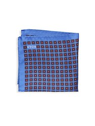 Eton Printed Silk Pocket Square Blue