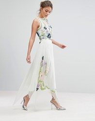 Frock And Frill Floral Sequin Midi Skirt Seafoam Green