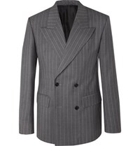 Versace Grey Oversized Double Breasted Pinstriped Wool Suit Jacket Gray