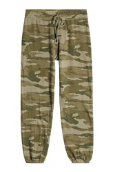 Current Elliott The Collegiate Printed Cotton Sweatpants Green