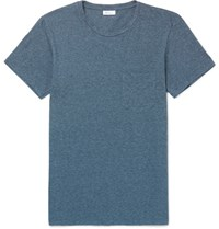 Schiesser Fred Slim Fit Striped Melange Cotton Jersey T Shirt Blue