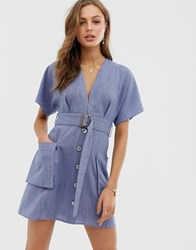 Moon River Plunge Dress With Belt And Pockets Navy