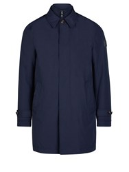 Aquascutum London Kirkman Zip Front Single Breasted Trench Navy