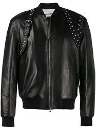Alexander Mcqueen Studded Harness Bomber Jacket Black