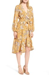 Bobeau Faux Wrap Dress Mustard Paisley Print