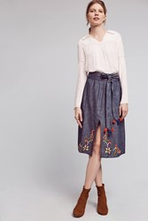 Anthropologie Embroidered Dahlia Skirt Denim Medium Blue