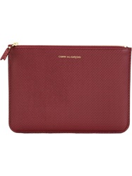 Comme Des Garcons Wallet Pebbled Zipped Coin Pouch Red