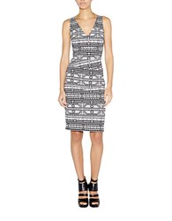Nicole Miller Geometric Sheath Dress Black White
