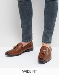 Asos Wide Fit Brogue Loafers In Tan Leather With Gold Tassel Detail Tan
