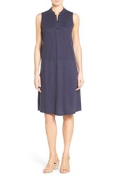 Women's Eileen Fisher Stand Collar A Line Shift Dress Midnight