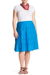 Allen Allen Tiered Skirt Plus Size Blue