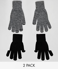 New Look Touch Screen Gloves In Black 2 Pack