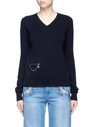 Stella Mccartney 'Falabella' Chain Zip Pocket Virgin Wool Sweater Blue