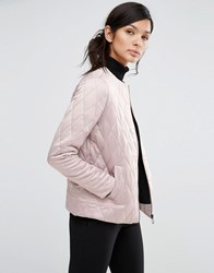 Neon Rose Quilted Collarless Jacket In Luxe Fabric Dusty Pink