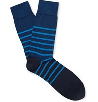 John Smedley Dionysus Striped Sea Island Cotton Blend Socks Midnight Blue