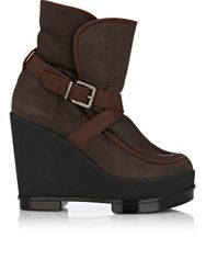 Robert Clergerie Shearling Lined Sidony Wedge Booties Brown