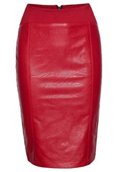 James Lakeland Faux Leather Zip Skirt Red