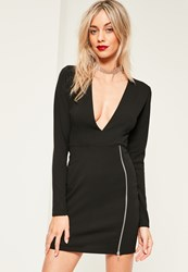 Missguided Black Plunge Zip Detail Bodycon Dress