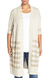 Plus Size Women's Caslon Stripe Long Cardigan Tan Ivory Stripe