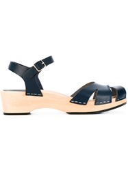Swedish Hasbeens Suzanne Debutant Sandals Women Calf Leather Leather Rubber 38 Blue