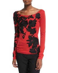Naeem Khan Boat Neck Lightweight Cashmere Sweater W Lace Overlay Red Black
