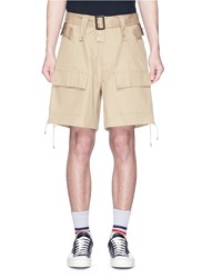 Facetasm Lace Up Outseam Belted Twill Cargo Shorts Neutral