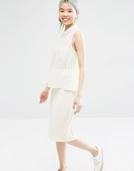 Monki Crochet Lace Blouse Almost White Cream