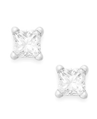 Macy's Princess Cut Diamond Stud Earrings In 10K White Gold 1 6 Ct. T.W.