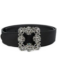 Manolo Blahnik Embroidered Buckle Belt Black