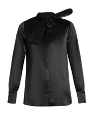 Saint Laurent Silk And Tulle Bow Shirt Black
