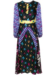 Duro Olowu Patterned Long Sleeved Dress Silk Black