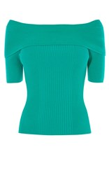 Karen Millen Short Sleeve Bardot Top Green