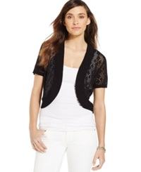 Ny Collection Petite Pointelle Short Sleeve Bolero Cardigan Black