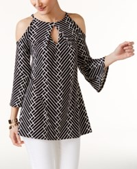 Alfani Printed Off The Shoulder Tunic Only At Macy's Black White Wavy Stripe
