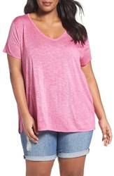 Sejour Plus Size Women's Slub Knit Tee Pink Raspberry